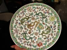 DECORATIVE ORIENTAL PLATE HANDPAINTED 5 TOED DRAGONS & FLOWERS 10""